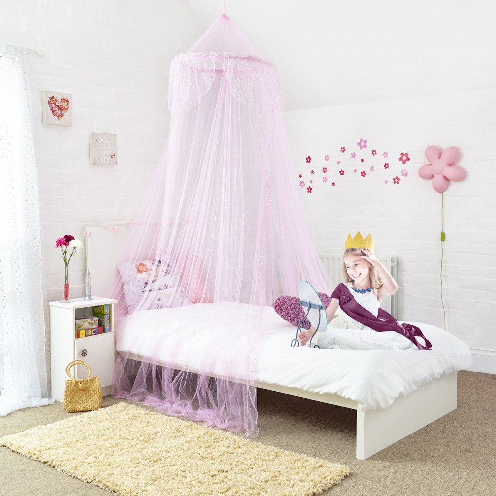 Silver Sequins Bed Canopy