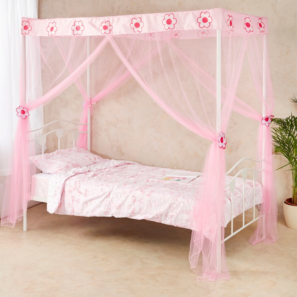Girls 4 Poster Flower Bed Canopy
